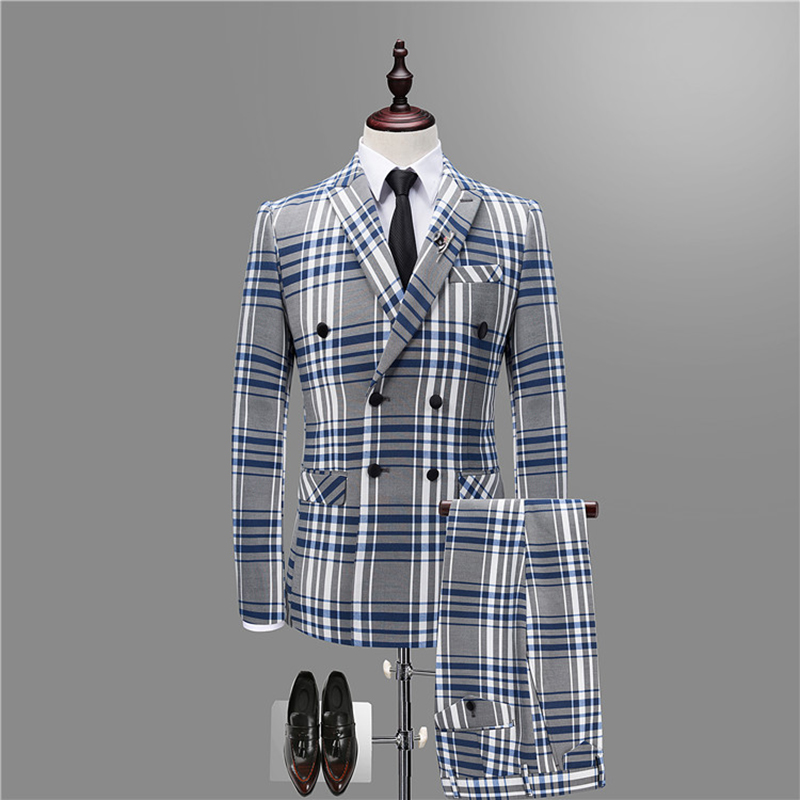 2020 NEW Double Breasted Men Suit Plaid Fashion Asian Size Wedding Suits For Men 3 Pcs Mens Suits Slim Fit Casual Stripe Suit