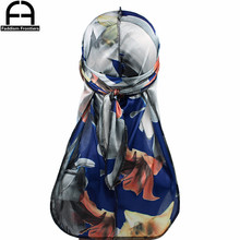 Unisex Men Floral Silk Durag Stretchy Bandanas for Turban Hat Headwear Long Straps Headband Waves Silky Durags