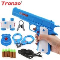 Tronzo 11 Teile/satz Blau Senior Polizei Spielzeug-set Simulation Polizei Handschellen Teleskop Pistole Und 5 Kugel Pretend Spielen Spielzeug Für jungen