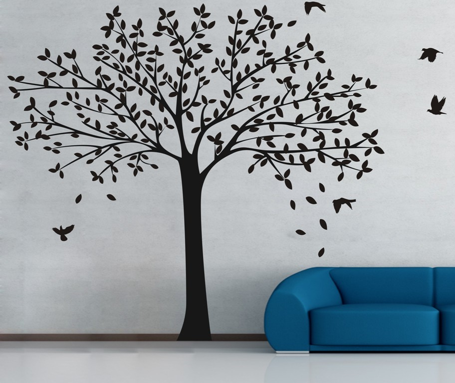 Huge Designed Nursery Tree With Flying Birds Silhouettes Art Wall Posters Home Kids Bedroom Sweet Decor Gift Wallpaper Wm-576