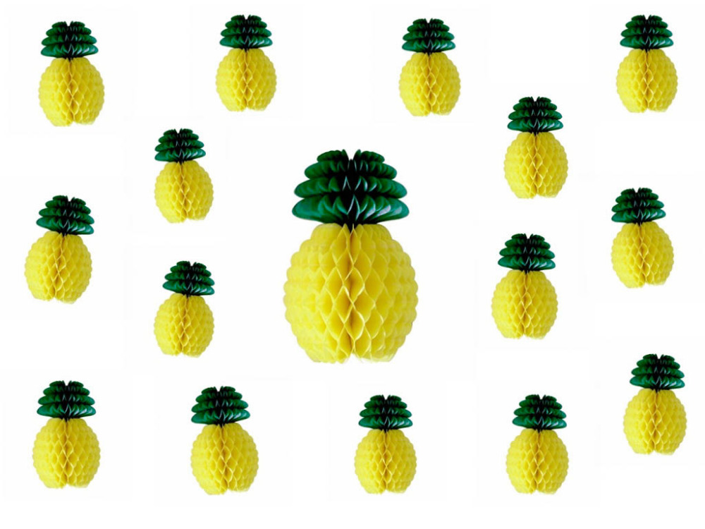 50pcs Yellow Pineapple Shape Paper Honeycomb Decoration Table Centerpiece Honeycomb Paper Fruit Summer Nubuck Decor in Party DIY Decorations from Home Garden