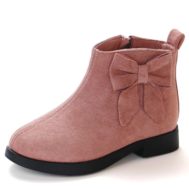 JGSHOWKITO Autumn Winter Girls Boots Fashion Rubber Boots For Kids Children's Ankle Boots Princess Sweet Warm Shoes Big Bow-knot