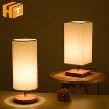 LED Wood Table Lamp Round / Square + Fabric Modern Desk E27 Holder Bulb Home Bedroom Besides