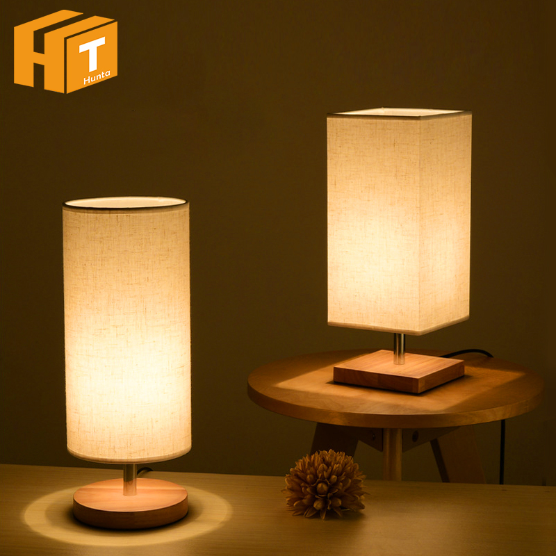 LED Wood Table Lamp Round / Square Wood + Fabric Modern Table Desk Lamp E27 Holder LED Bulb Home Bedroom Besides Lamp
