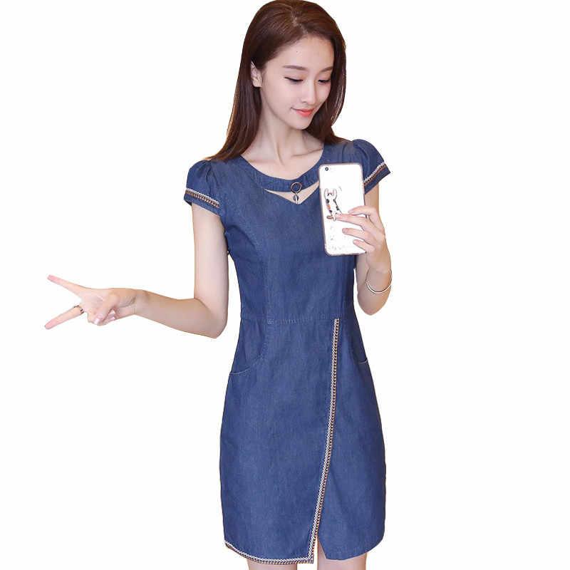 Летнее джинсовое платье женское 2019новое корейское тонкое с коротким рукавом джинсовые платья Vestidos работа офисное платье женская одежда плюс размер 680