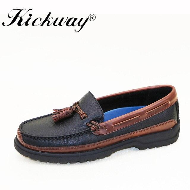Kickway גברים מוקסינים 2017 Mens נעליים יומיומיות אמיתי עור סירת נעלי גברים עור מוקסינים בוהן עגול שטוח ציצית גודל 11 12