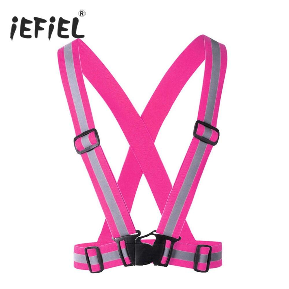 High Visibility Elastic and Adjustable Reflective Lightweight Safety Belt Vest for Running Walking Jogging for Motorcycle Belts