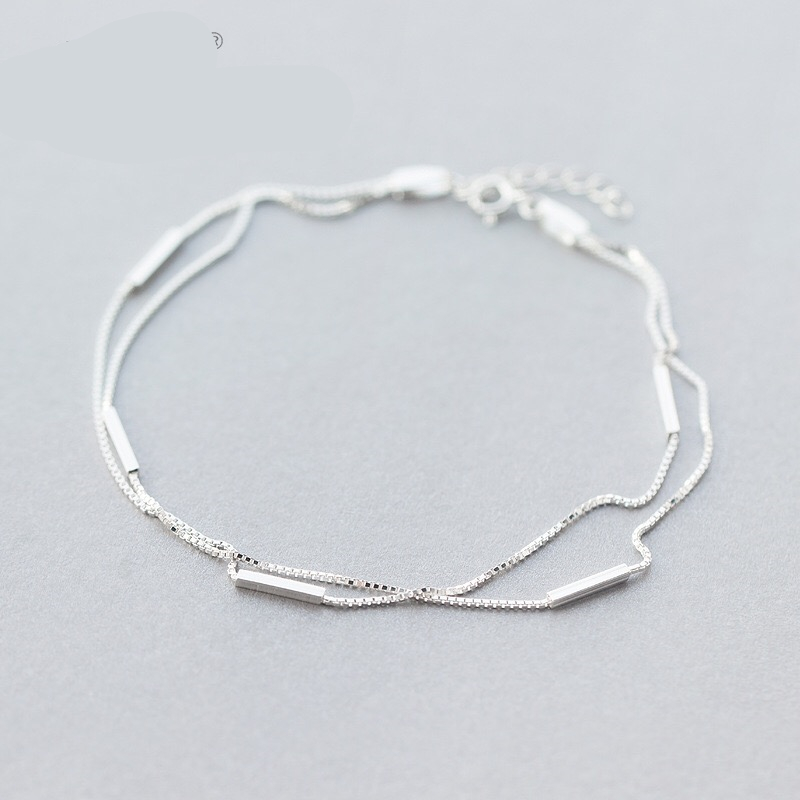 925 Sterling Silver Fashion Two Layers Snake Chain Anklet For Women S925 Ankle Chain Bracelet Adjustable Length