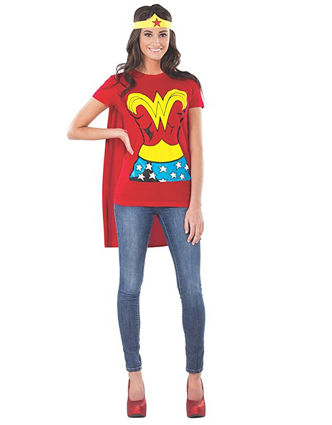2017 DC Comics Wonder Woman T-Shirt With Cape And Headband Cosplay Costume T SHIRT