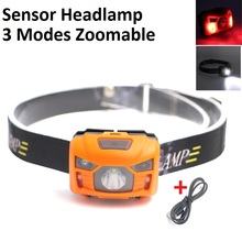 Mini Rechargeable LED Headlamp Body Motion Sensor Headlight Camping Flashlight Head Light Torch Lamp for Camping
