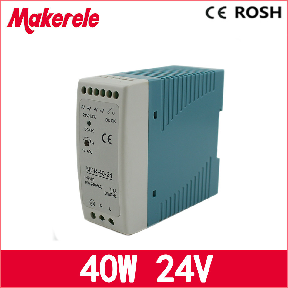 mini size high quality switching power supply 24v 40w MDR-40-24 DIN Rail power supply for led driver 24v 1 7a 40w ce approved mini din rail single output switching power supply mdr 40 24