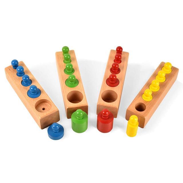 BOHS casa-tamaño Montessori cilindros con pomo de madera Socket familia Pack educación temprana juguete 4 unids/set