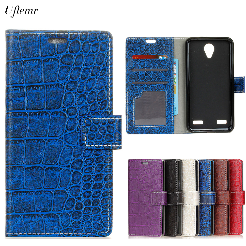 Uftemr Vintage Crocodile PU Leather Cover For ZTE Blade A521 Protective Silicone Case Wallet Card Slot Phone Acessories