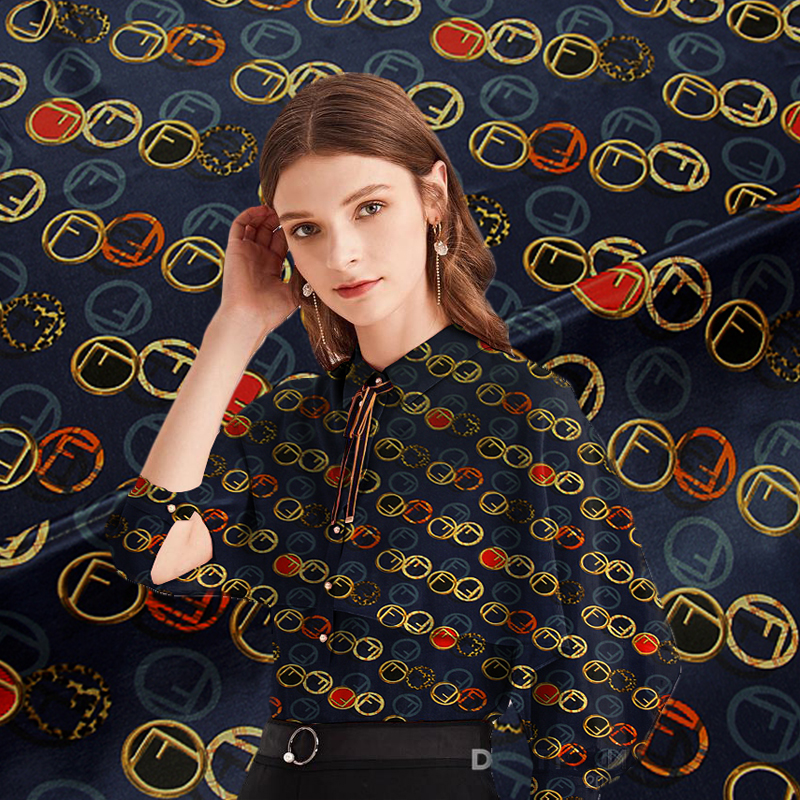 100% Silk crepe wide-width inkjet summer dress t-shirt designer fabric