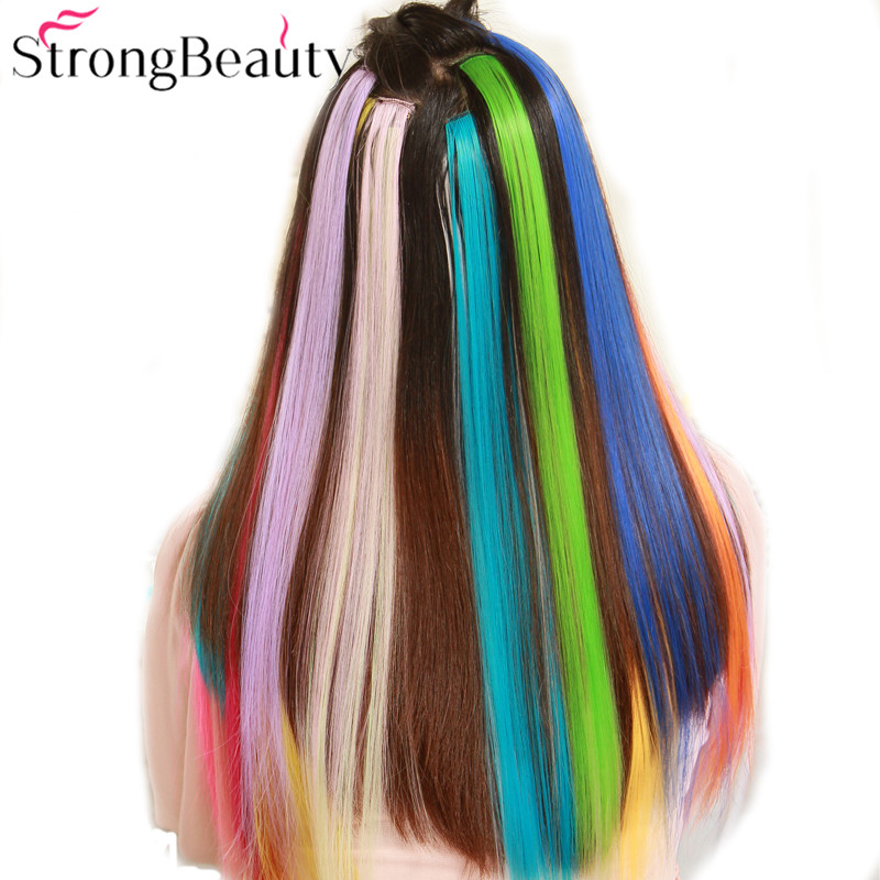 StrongBeauty Women Colorful Extension Long 50CM Synthetic Clip In Straight Hairpiece Par ...