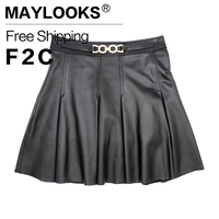 Maylooks 2017 Spring Women Leather Skirt Genuine Leather Plus Size Pleated Skirts Sequined Sheepskin Design Women