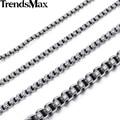 Trendsmax 2/3/4/5/6mm de ancho 18-36 pulgadas de caja redonda de color plata de acero inoxidable collar mens boys cadena joyería knm06