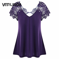 VESTLINDA Lace Trim T Shirts Women Summer 2017 Plus Size Sexy Back Cut Out T Shirt