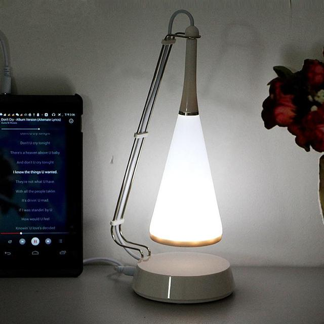 Amazing USB Cable Rechargeable Cordless LED Table Lamp Modern Touch Control  Bluetooth Speaker Dimmer Adjusted Audio Table