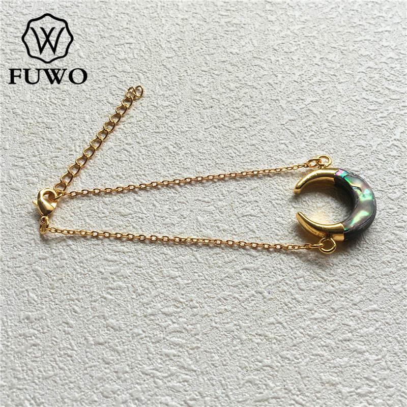 Image 3 - Браслет в виде раковины Abalone FUWO, браслет в форме полумесяца с  золотым наконечником из латуни, модный двойной браслет «Рог»  BR502Цепочки и браслеты