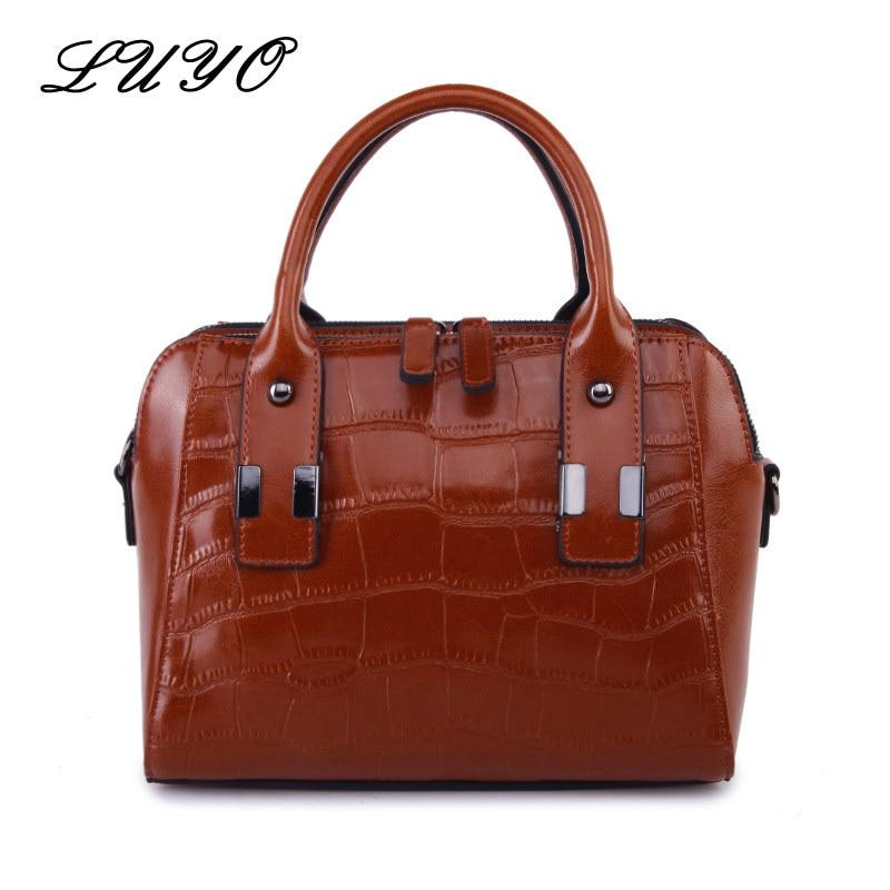 LUYO European Fashion Genuine Real Leather Vintage Crocodile Luxury  Handbags Women Bags For Ladies Designer Shoulder Handbag 0dedb91f30791