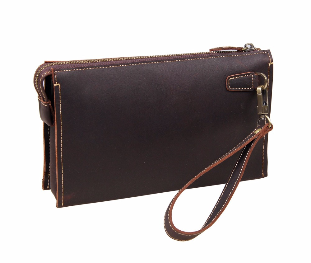 Business Casual Retro Thread Clutch Bag Fashoin Real Leather Long Wallet For Men Vintage Zipper Purse With Strap Coffee Bag colorful pu leather strap for bag accessories handle with metal clasp for diy purse 10pcs lot
