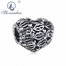 Slovecabin Valentine's Day Gift 2018 Love Kisses Heart Bead Fit For Europe Bracelet 925 Sterling Silver Beads For Jewelry Making