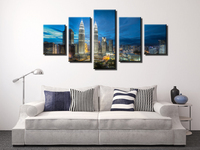 Fallout Wall Art Views Of The Twin Towers Of City At Night, 5 Panels/set Hd Canvas Print Painting Artwork, .decorative