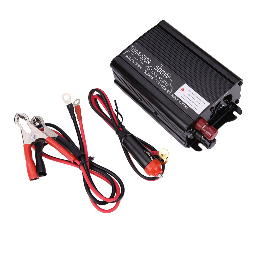 500W Solar Power Inverter DC 12V & AC 230V Modified Conventer with Car Charger & A Pair Alligator Clip For Television DVD Player