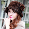 2016 New Women Real Rabbit Fur Hat Fashion Knitted Genuine Rex Rabbit Fur Cap Winter Warm Natural Fox Fur Headgear Beanies 001