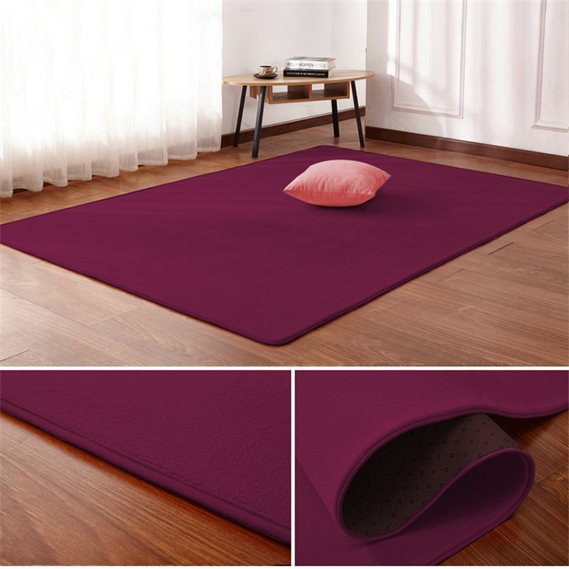 Solid Color Thick Coral Fleece Carpet Living Room Coffee Table Blanket Bedroom Bedside Rectangular Window Rug Tatami Yoga Mat