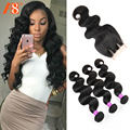 7A Brazilian Virgin Hair With Closure Virgin Brazilian Human Hair With Closure 3 Bundles Brazilian Body Wave With Closure