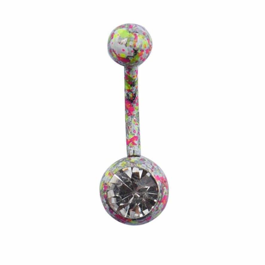גוף פירסינג תכשיטי קריסטל ריינסטון להתנדנד בטן כפתור טבור טבעת בר 102510 ##418