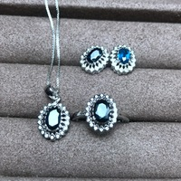 KJJEAXCMY бутик Драгоценности 925 чистого серебра, инкрустированные с натуральным сапфиром кулон серьги кольца 3 комплекта цветы потока curve новый