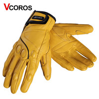 Genuine Leather Motorcycle Gloves Windproof Man Women Fashion HD Retro Full Finger Gloves For Harley Locomotive