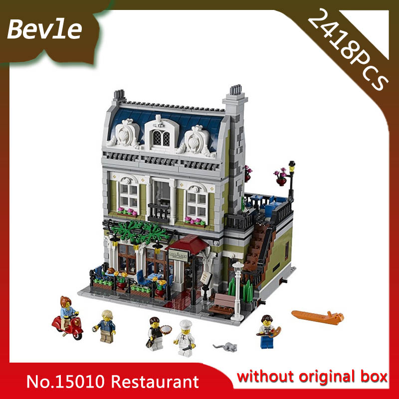Bevle Store LEPIN 15010 2410Pcs street View series City Street Parisian Restaurant Model Building Blocks For Children Toys 10243 compatible lepin city mini street view building blocks chinatown satin silk store with saleman figures toys for children gift