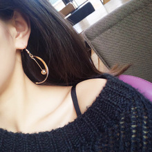 New Korean fashion half ball earrings hook Japanese and version of geometric simplicity with ear drop