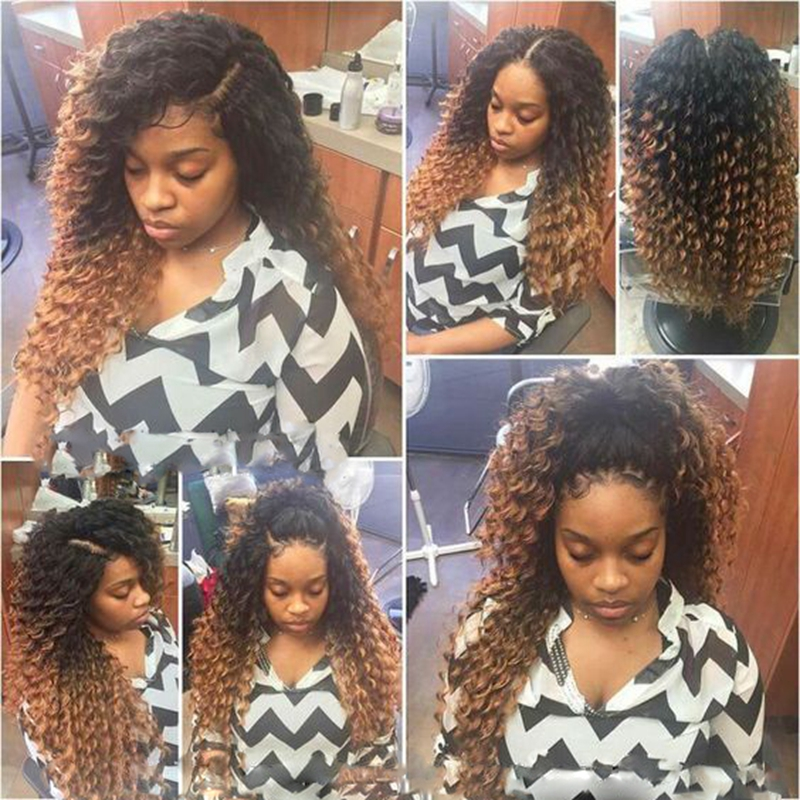 Afro Kinky Curly Synthetic Lace Front Hair Two Tone Color
