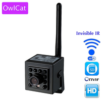 OwCat Mini P2P IP Camera WiFi Wireless CCTV Network Recording Cameras With 940nm Invisible LED Night Vision Memory SD Card Slot