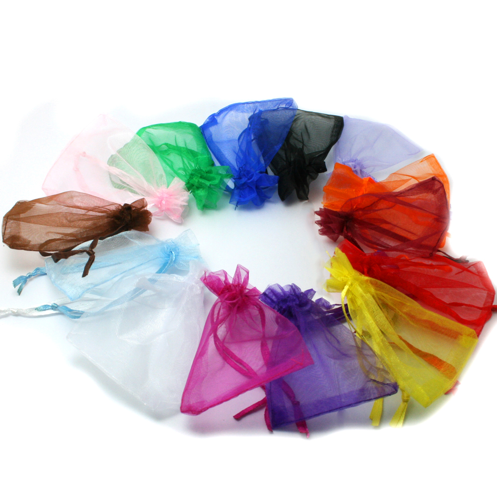 9x12cm 10pcslot  Wedding Jewelry Packaging Pouches Organza Bag Nice Gift Bags Mix Colors