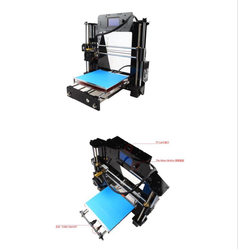 Top Quality!Newest 3D Printer Machine Prusa Reprap I3 DIY Kit SD Card ACT bundle US DE UK JP Free flsun 3d printer big pulley kossel 3d printer with one roll filament sd card fast shipping