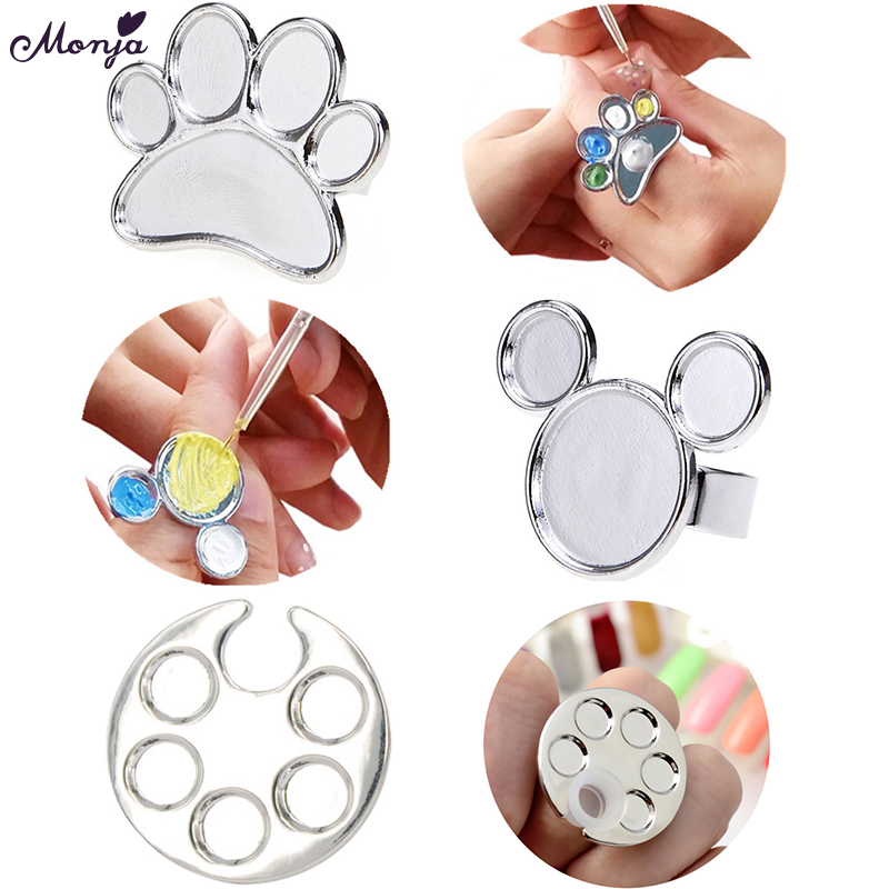 Monja 3 Gaya Nail Art Mini Metal Finger Ring Palette Mixing Acrylic Gel Polish Drawing Color Painting Dish Glue Palettes Tools