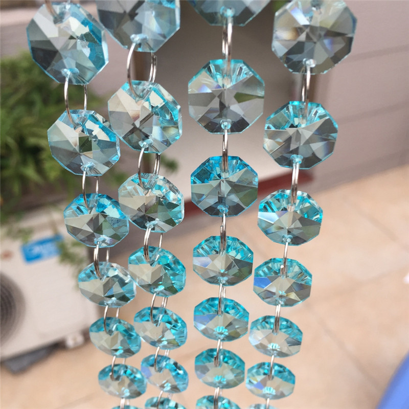 Crystal AAA Sale light Aqua 10M Silver Ring Crystal Garland Chain Glass Octagon Beads Strands For