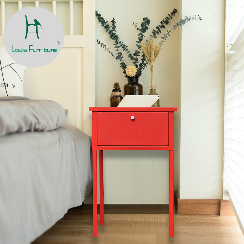 US 54 9 Louis Fashion Nightstands Brief Nordic Bedroom Bedside Table Modern High Foot Metal Iron Living Room Small Square Table In Nightstands From