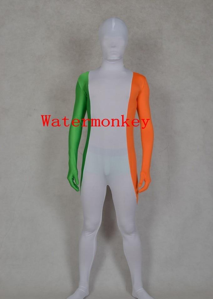 Ireland Flag Zentai Second Skin Suit Fancy Dress Costume Spandex Lycra