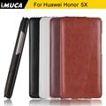Caso da tampa do huawei honor 5x honor5x luxury caso de couro da aleta huawei honor 5x imuca caso capa protetora tampa do telefone móvel saco
