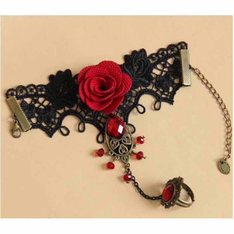 YGLCJ Beliebte Vintage sexy spitze rote rose metall armband für Frauen Zubehör Charme Armbänder für Mädchen Nacht Club Party Schmuck