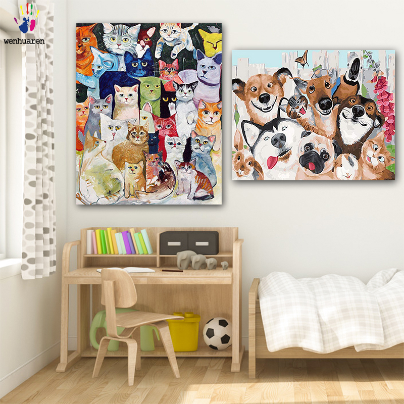 DIY colorings pictures by numbers with colors Lots of cats and enough picture drawing painting by numbers framed Home