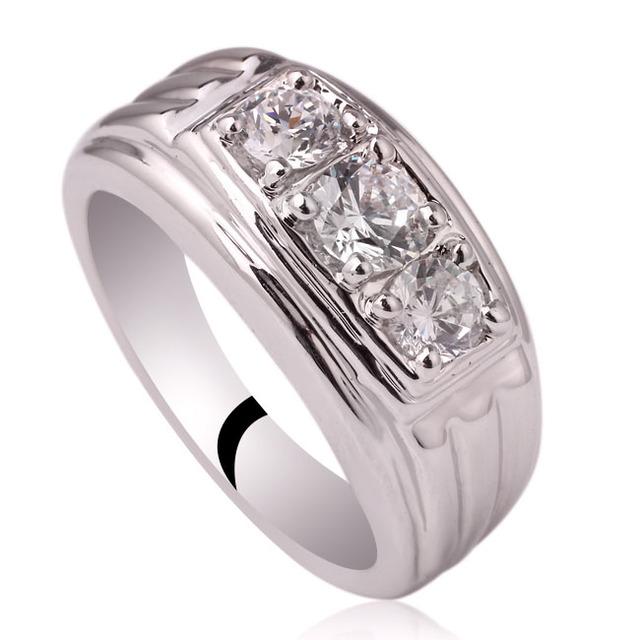 Men Genuine 925 Sterling Silver Ring 3-stone Design Jewelry Heavy Feel Sizes R519 Birthday Gift Christmas