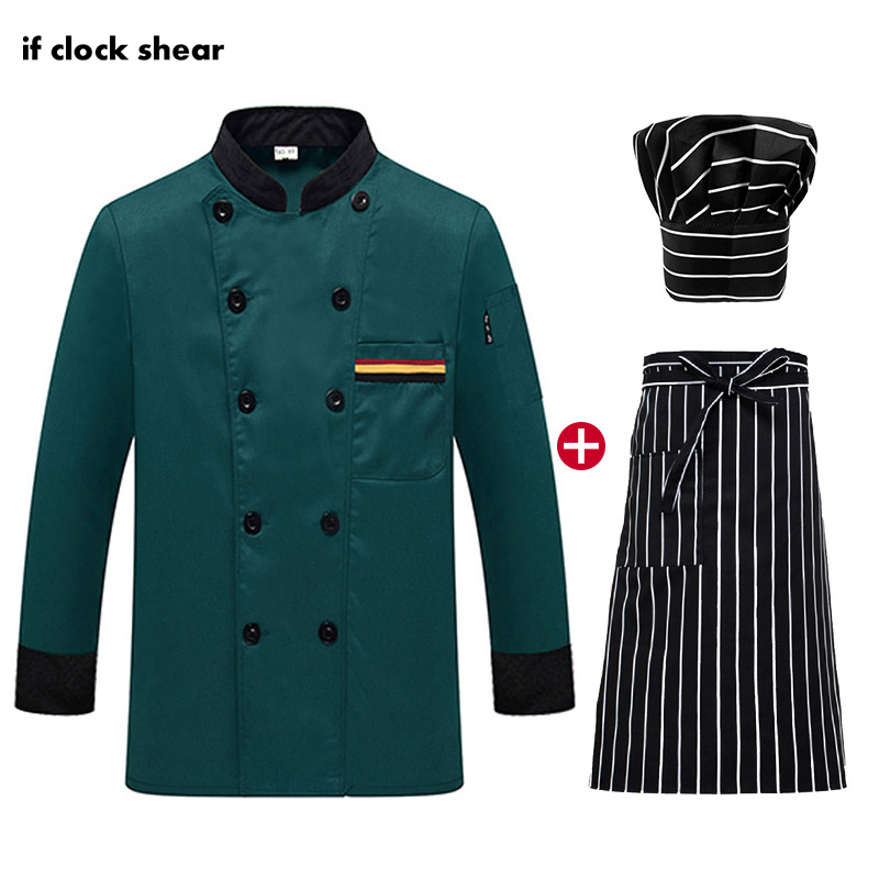 Double Breasted Chef Jackets High Quality Restaurant Uniforms Shirts Long Sleeved Hotel Catering Kitchen Bakery Waiter Workwear